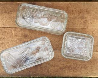 Vintage Federal glass clear refrigerator jars