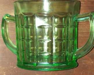 Hazel Atlas green depression glass sugar bowl