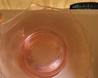 Anchor Hocking pink octagon plates