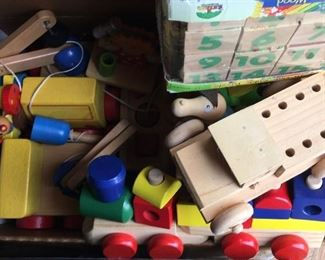 Various vintage wooden toys