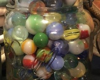 Vintage marbles in Ball canning jar