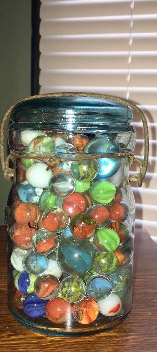 Vintage marbles in aqua Ball jar
