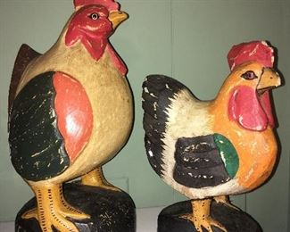 Hand painted wooden hens
