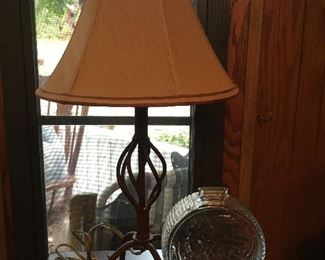 Table lamp; vintage Indian head bank