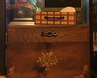 Hand painted wood chest; decorative box (top)