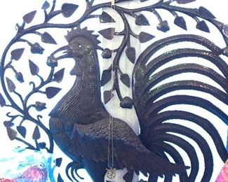 Tin rooster wall art