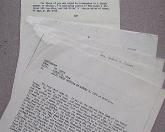 Part of Special Bid: 1974 Nixon resignation eve and day 1st hand accounts from Rep. Glenn Davis and Hon. Robert H. Michel