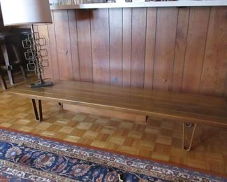 Edward Wormley: Long John bench/coffee table with MCM lamp