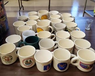 Various Mugs Including Vintage Scouts and Milk Glass
