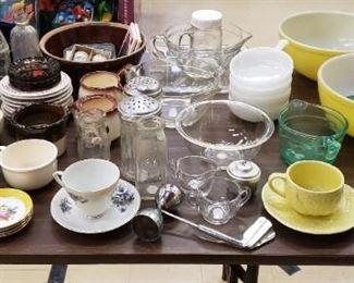 A Few Pyrex pieces, Milk Glass Sets, Vintage Glass Bottles