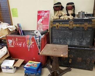 Vintage Trunks and Coke Cooler