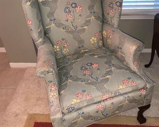 2 matching winged backed chairs Oriental Print Fabric
