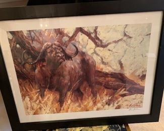 "Vic Guthrs  Renown African Wildlife artist and writer ""Waterbuffalo""   Doubled signed Prints"