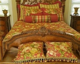 Gorgeous carved queen bed.
