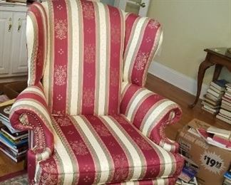 One of a pair of very nice striped Wing Chairs