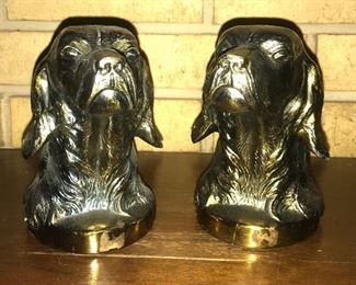 Brass bird dog bookends
