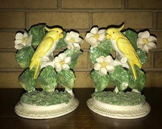 Pair of parakeet bookends