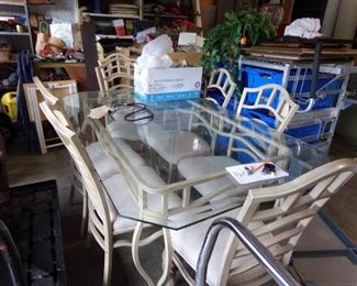 Like New Glass Top Dining Table with Matching set of Six Chairs