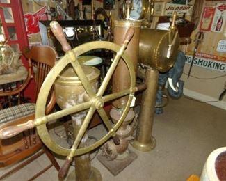 Brass Ships Wheel -Brass Ships Telegraph
