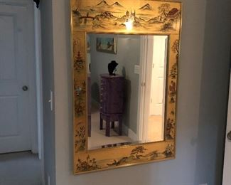 Reverse Painted Gold Leaf Chinoiserie Mirror