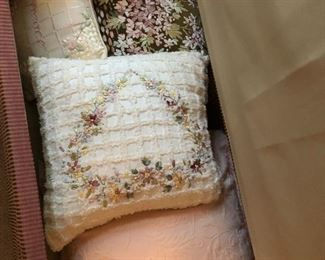 Ribbon embroidered pillows