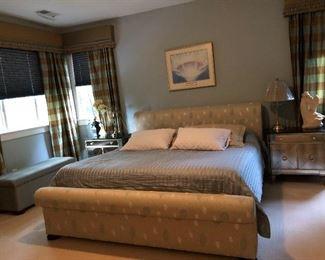 Custom King Bed by Ballard Designs., organic mattress & Basset Mirror Co Side Tables with Granite Top