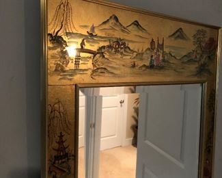 Reverse painted, gold leaf chinoiserie mirror