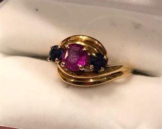 18K ruby & sapphire ring