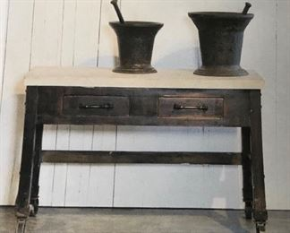 Antique Printers Marble Table with 2 drawers and casters