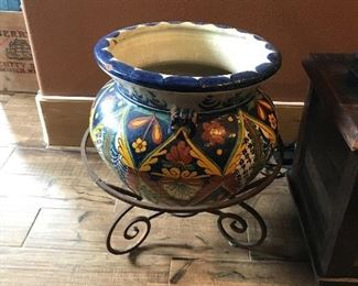 Large hand painted Mexican flower pot with stand