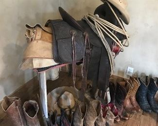 Western saddle and cowboy boots