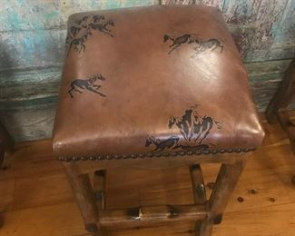 "Great stools 4 with horse design 30"" tall"