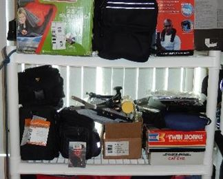led lights, Marlboro gear suit cases, back packs and tote bags