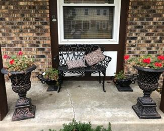 WROUGHT IRON BENCH AND POTS