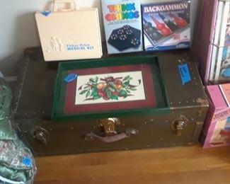 Foot locker, tray, and games