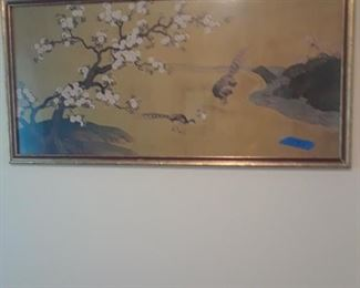 Lovely painting of peach blossoms on silk, Japan. Late 19th to early 20th c.