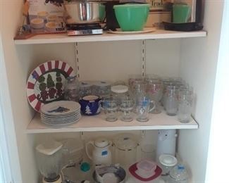 Small appliances and other useful kitchen items such as mix master and blender