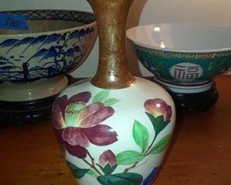 Hand-painted vase, porcelain, England