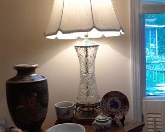 Cut glass lamp, 19th c.
