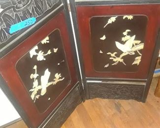 Carved Asian screen, two panels, with applied decoration , birds and leaves