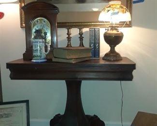 Folding top pedestal table, 19th c.