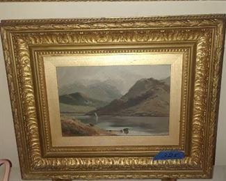 Oil on canvas, 19th c. Landscape in gold leaf frame