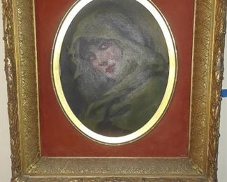 Portrait of a woman, oil on canvas, 19th c.