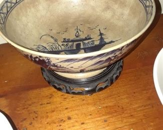 Ceramic bowl with blue decoration in the Asian style