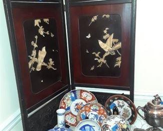 Asian folding screen and ceramics