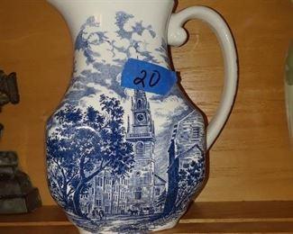 Blue transfer pattern milk pitcher