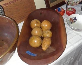 Wood dough bowl and fruit