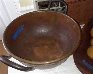 Huge copper kettle, hand hammered