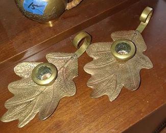 Brass candlesticks, leaf shaped