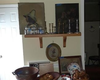 Oil portrait, Currier and Ives print, needlepoint, copper kettle, Imari bowl, and more